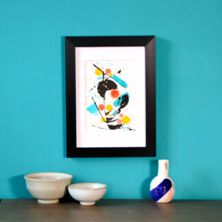 ORIGINAL abstract art handpainted postcard