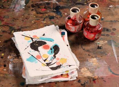 dreams of urban life, hand-painted postcard